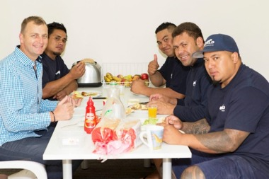 team having lunch